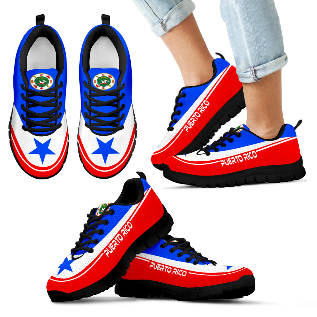 Lace-up Sneaker Training Shoe Mens Womens Puerto Rico Flag