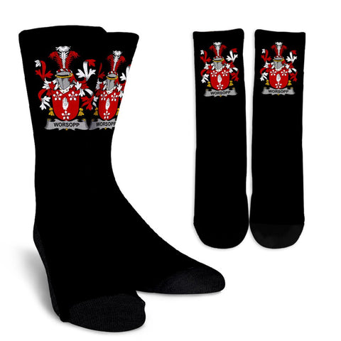 Worsopp Ireland Crew Socks - Irish Family Crest  | Over 1400 Crests | High Quality | 1sttheworld