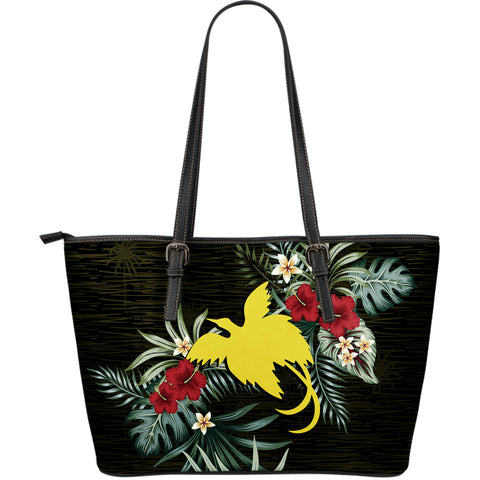 Papua New Guinea Hibiscus Large Leather Tote Bag A7