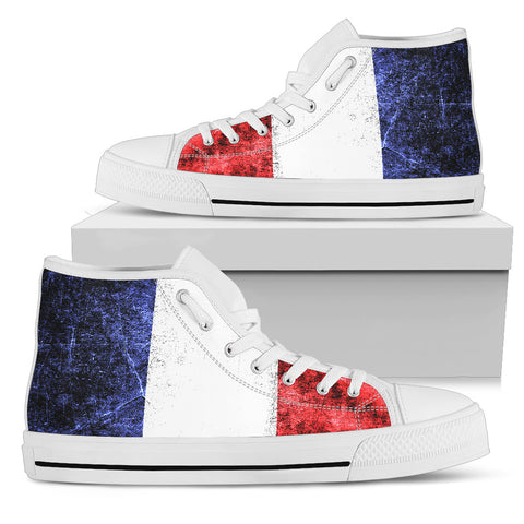 Image of FRANCE DARKEN FLAG HIGH TOP CANVAS SHOES A1