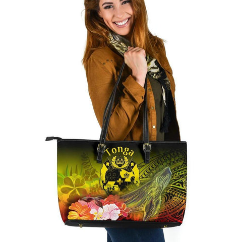 Tonga Large Leather Tote Bag - Humpback Whale with Tropical Flowers (Yellow)