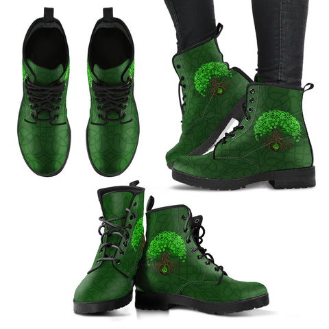 Image of Celtic Tree Of Life Leather Boots For Men And Woman - celtic boots, tree of life, celtic tree, leather boots, boots, online shopping, footwear