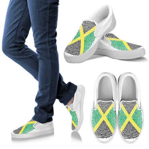 Jamaica Fingerprint Flag Slip Ons | 1sttheworld.com
