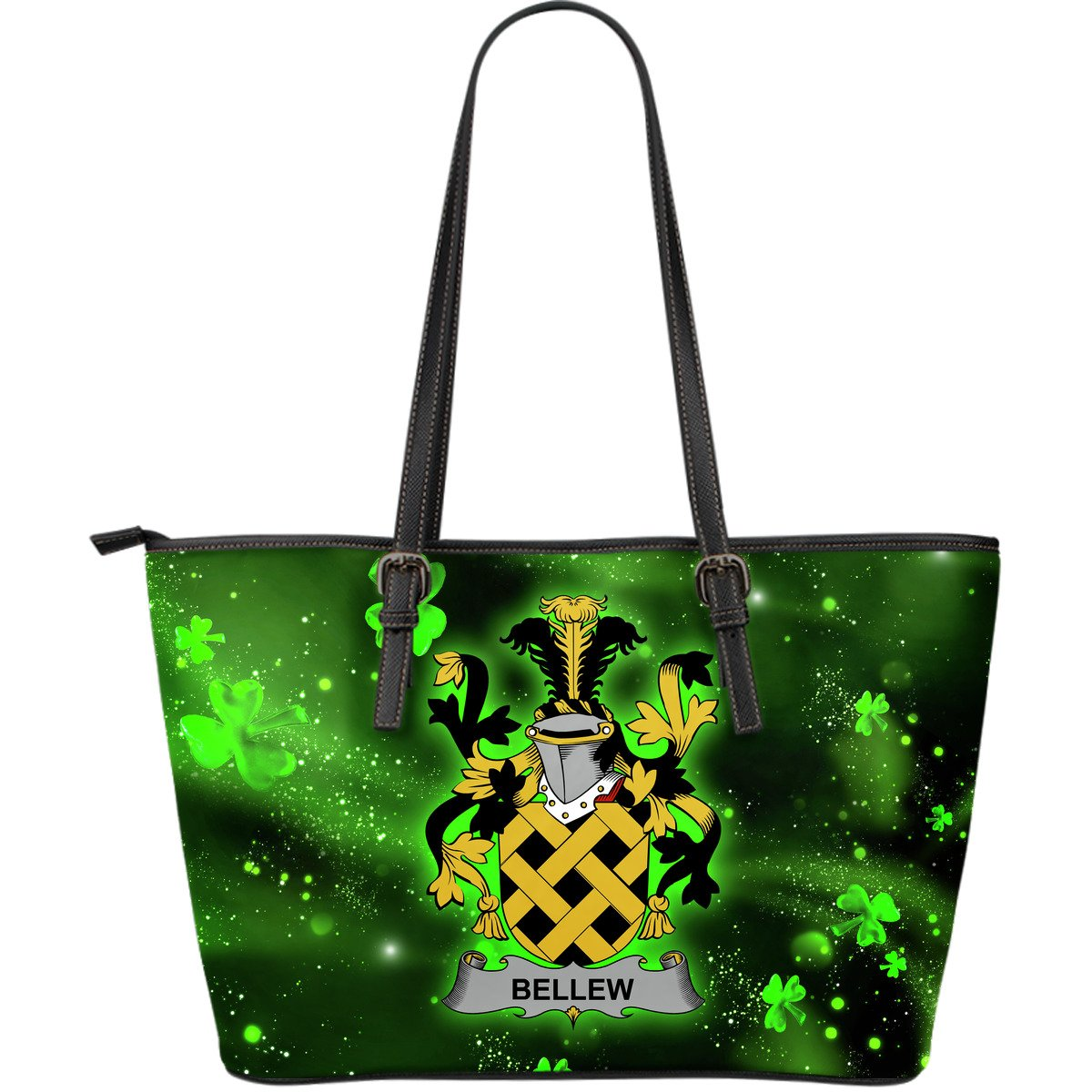 Bellew Ireland Leather Tote Irish Shamrock (Large Size) | Over 1400 Crests | Highest Quality
