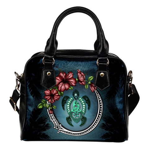 Image of Kanaka Maoli (Hawaiian) Shoulder Handbag - Polynesian Ohana Turtle Hibiscus Mother Son | Love The World