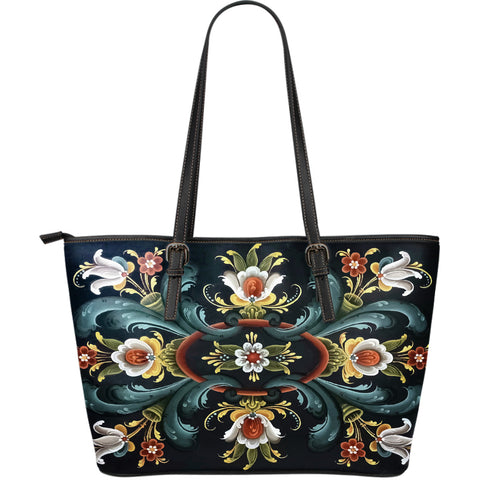 Rogaland Rosemaling Leather Tote Bag (Large Size) | HOT Sale