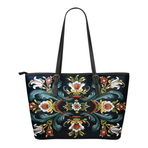Rogaland Rosemaling Leather Tote Bag | HOT Sale