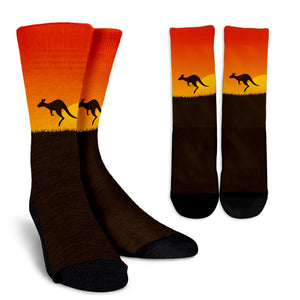 Australia Kangaroo Under Sunset Crew Socks NN6