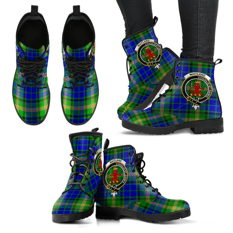 Maitland Tartan Clan Badge Leather Boots Hj4 |Footwear| Love The World