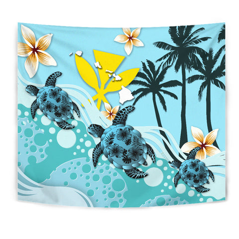 Image of Hawaii Tapestry - Blue Turtle Hibiscus | Love The World