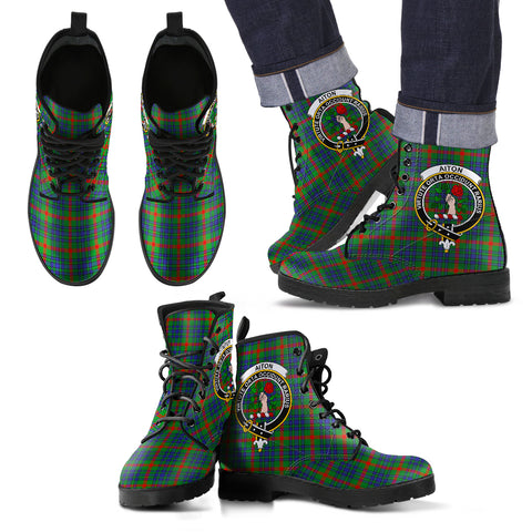 Aiton Tartan Clan Badge Leather Boots Hj4 |Footwear| Love The World