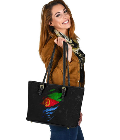 Eritrea in Me Small Leather Tote - Special Grunge Style A7