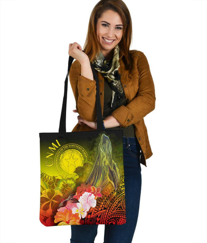 CNMI Tote Bags - Humpback Whale with Tropical Flowers (Yellow)