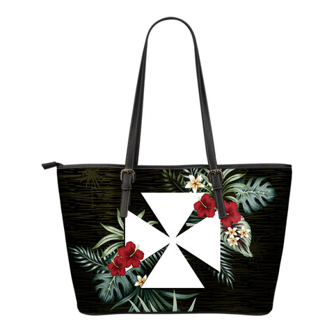 Wallis and Futuna Hibiscus Small Leather Tote Bag A7