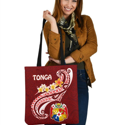 Tonga Tote Bags - Tonga Coat Of Arms With Polynesian Patterns