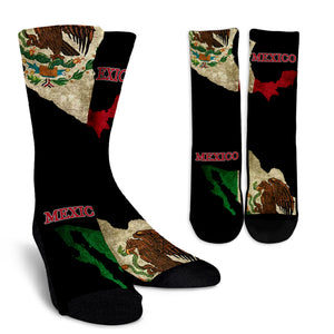 Mexico Flag Map Crew Socks J8