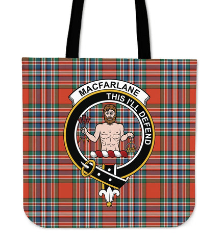 Tartan Tote Bag - MacFarlane Ancient Clan Badge | Special Custom Design