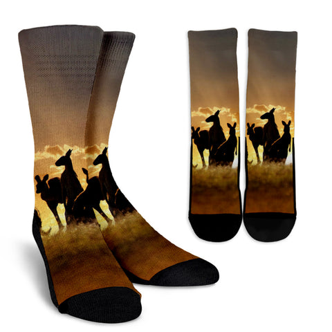 Kangaroo Under Sunset Crew Socks NN6