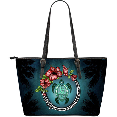 Kanaka Maoli (Hawaiian) Large Leather Tote - Polynesian Ohana Turtle Hibiscus Mother Son | Love The World