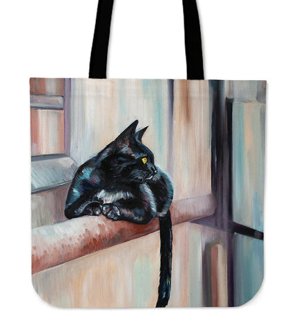 Cat On Ledge Cloth Tote Handbag