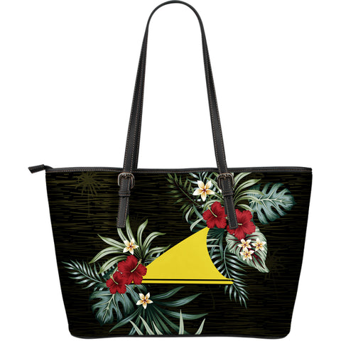 Tokelau Hibiscus Large Leather Tote Bag A7
