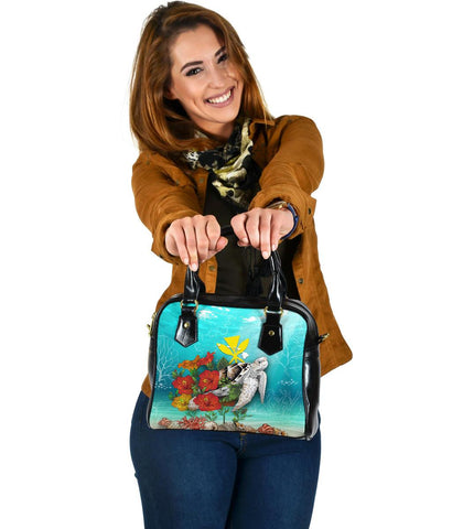 Image of Kanaka Maoli (Hawaiian) Shoulder Handbag - Ocean Turtle Hibiscus | Love The World