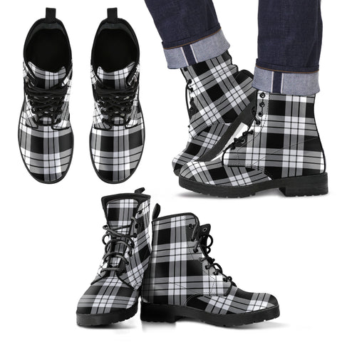 Macfarlane Black & White Ancient Tartan Leather Boots Hj4 |Footwear| Love The World