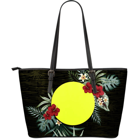 Palau Hibiscus Large Leather Tote Bag A7