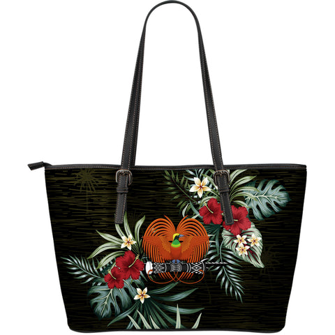 Papua New Guinea 2 Hibiscus Large Leather Tote Bag A7