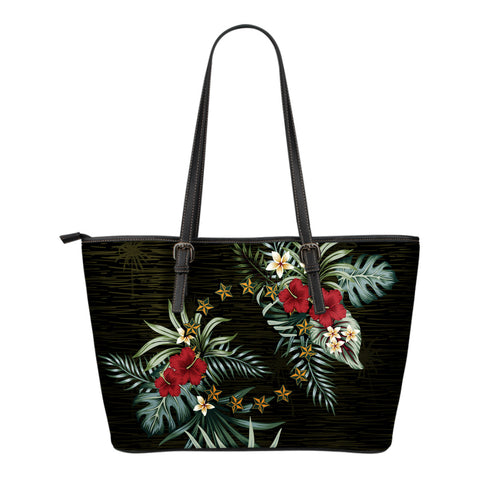 Cook Islands 2 Hibiscus Small Leather Tote Bag A7