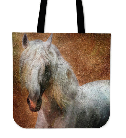 White Stallion Tote Handbag