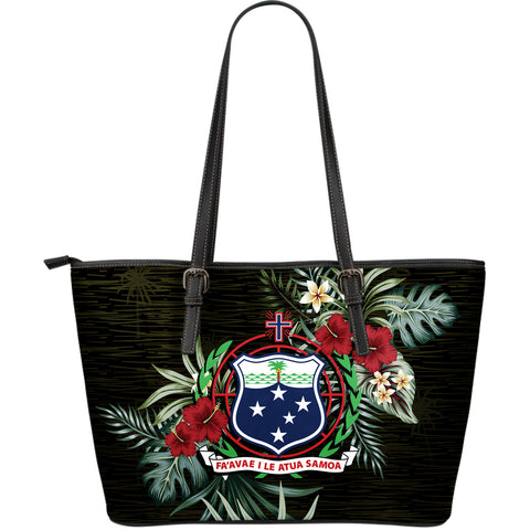 Samoa Hibiscus Large Leather Tote Bag A7