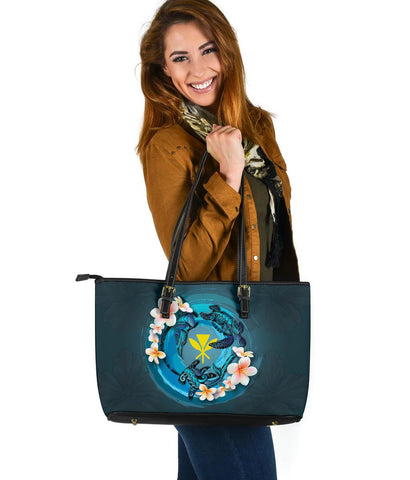 Kanaka Maoli (Hawaiian) Leather Tote  - Blue Plumeria Animal Tattoo | Love The World