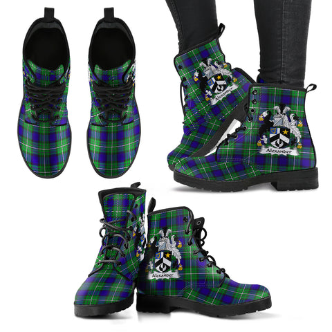 Alexander Tartan Clan Badge Leather Boots Hj4 |Footwear| Love The World