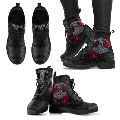 Viking Thor Hammer Leather Boots H5 |Footwear| Love The World