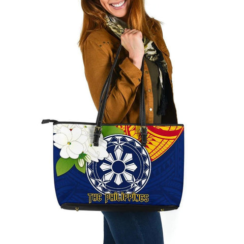 The Philippines Large Leather Tote Bag - Filipino  Sampaguita