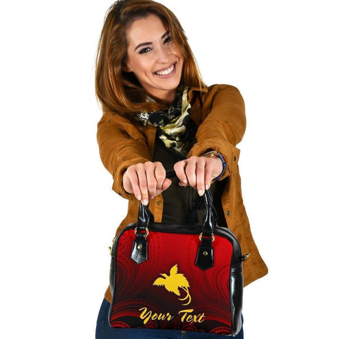 Papua New Guinea Custom Personalised Shoulder Handbag - Raggiana Bird of Paradise Polynesian Patterns