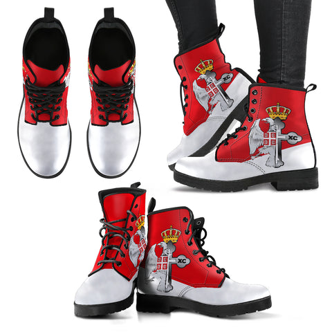 Serbia Leather Boots - Serbian Eagle / Orthodox Cross A7