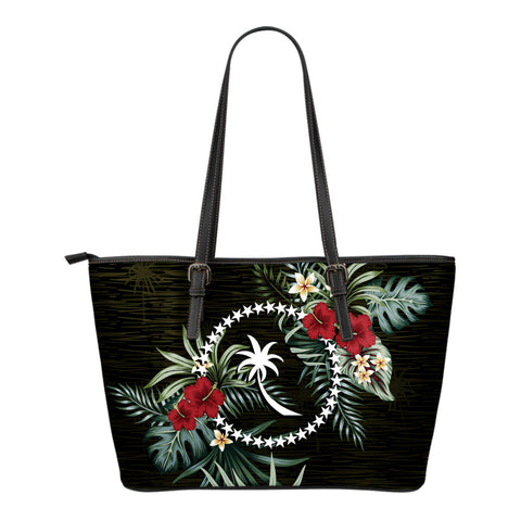 Chuuk Hibiscus Small Leather Tote Bag A7