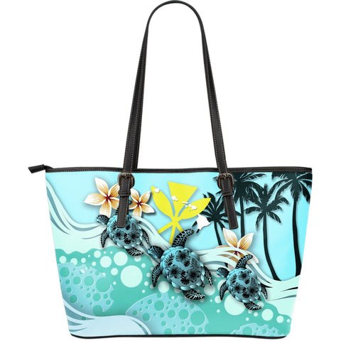 Hawaii Large Leather Tote - Turtle Hibiscus | Love The World