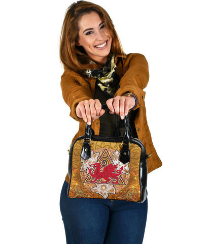 Wales Celtic Shoulder Handbag -  Welsh Cymru with Celtic Triskelion Vintage Style