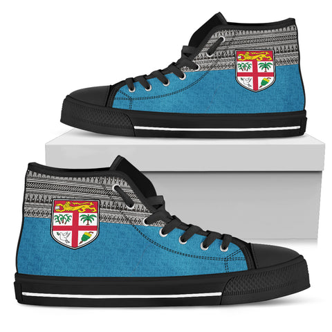 Image of Fiji Shoes, Fiji High top Canvas Shoes, Fiji footwear, tapa, Fiji coat of arms