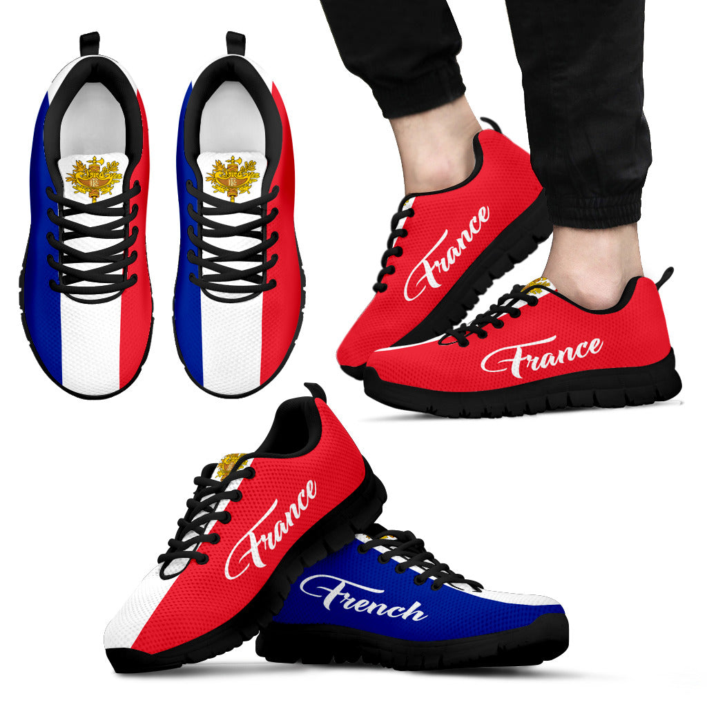 France Flag And Coat Of Arms Sneakers K5 | 1sttheworld.com