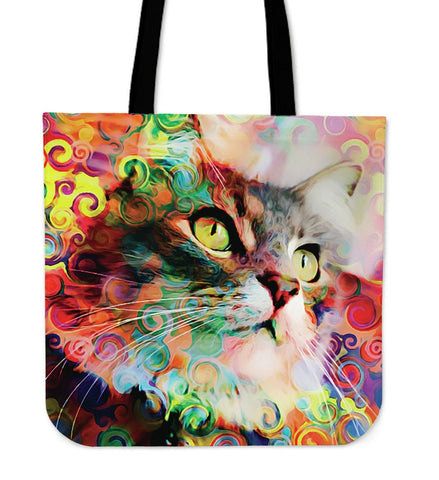 Rainbow Cat Tote Handbag