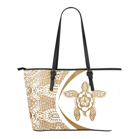 Turtle Polynesian Small Leather Tote - Circle Style