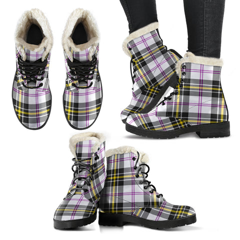 Macpherson Dress Modern Tartan Faux Fur Leather Boots