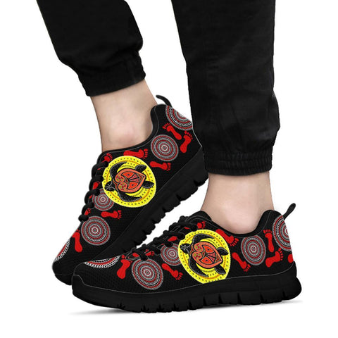 Australia Aboriginal Sneakers, Turtle Footprint Circle Dot Painting Ver 03