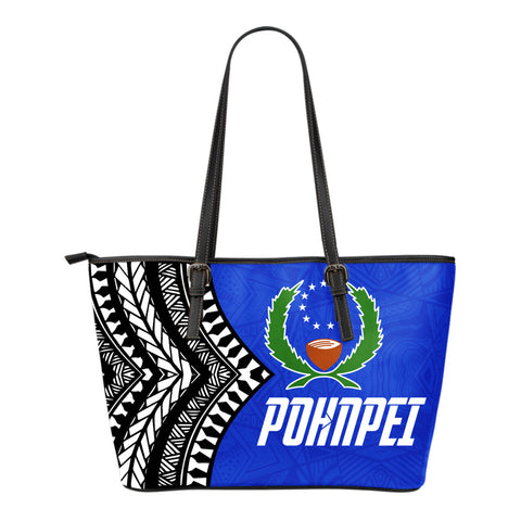 Pohnpei Flag Small Leather Tote Micronesian Pattern - BN09