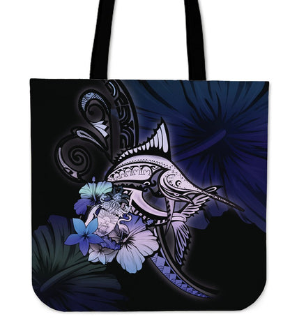 The Bahamas Tote Bag - Purple Blue Marlin and Flower A18