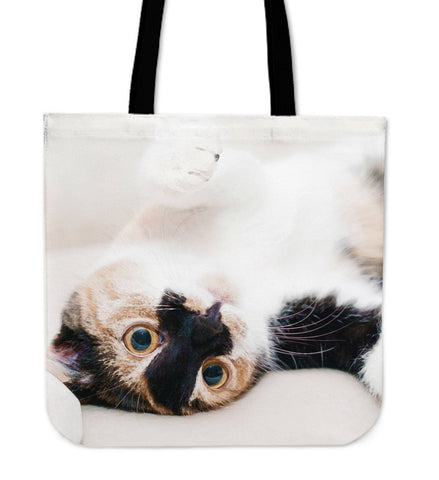 Tote Handbag Cat On Back Watercolor